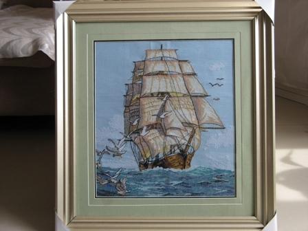 十字绣成品——《一帆风顺》