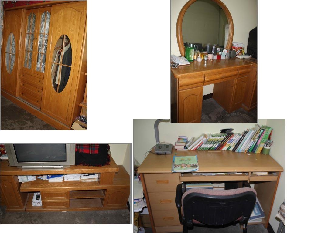 转让家俱--四门大衣柜/电视柜/梳妆台/书桌