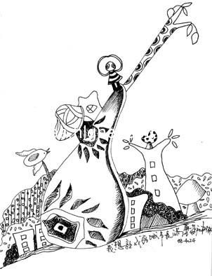 黑白手绘可爱动物卡通画