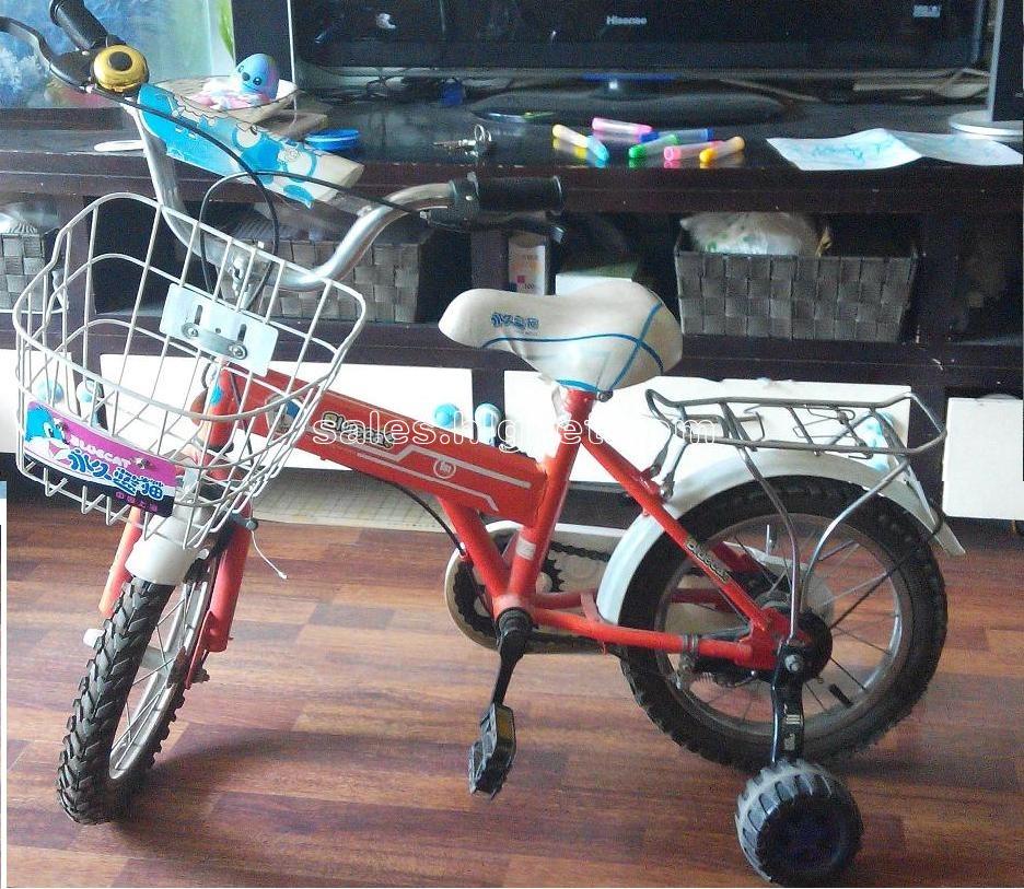 蓝猫14寸儿童自行车,带副轮铃铛